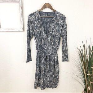 Gap Gray Print Faux Wrap Dress
